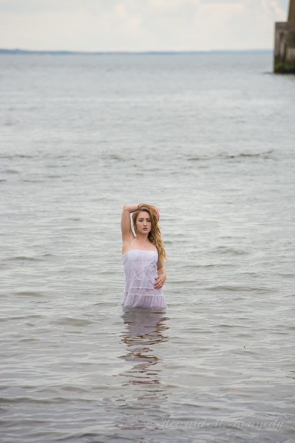 Rachelle emerging from the sea